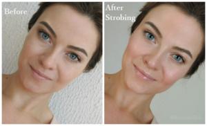 макияж до и после нанесения хайлайтера
