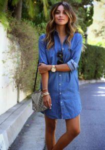 платье-рубашка деним