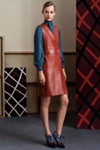 терракотовое кожаное платье