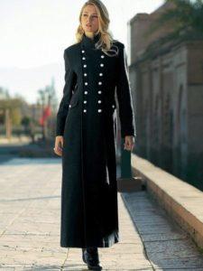 длинное пальто-шинель