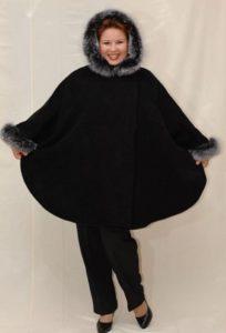 зимнее пальто пончо для полных